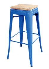Taburete alto Tolix Madera - Tono Azul Claro
