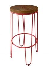 Taburete Alto Lorex Circular - Tono Rojo