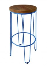 Taburete Alto Lorex Circular - Tono Azul Claro
