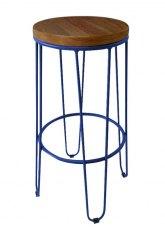 Taburete Alto Lorex Circular - Tono Azul Oscuro