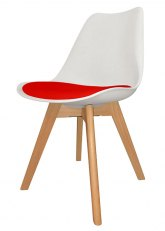 Silla Eames Cross Wood SE - Tapizado Rojo