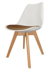 Silla Eames Cross Wood SE - Tapizado Capuchino