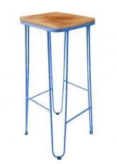 Taburete Alto Lorex Cuadrado - Tono Azul Claro