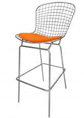 Taburete Bertoia Cromado Ultra - Tapizado Naranja
